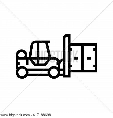 Loader Port Line Icon Vector. Loader Port Sign. Isolated Contour Symbol Black Illustration