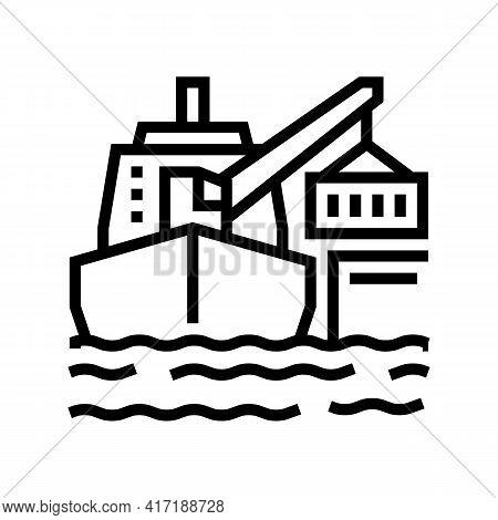Ship Crane Line Icon Vector. Ship Crane Sign. Isolated Contour Symbol Black Illustration