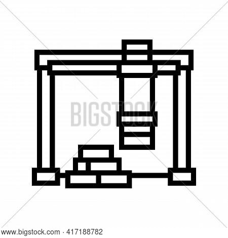 Loader Crane Port Line Icon Vector. Loader Crane Port Sign. Isolated Contour Symbol Black Illustrati