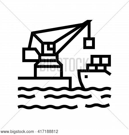 Crane Port Line Icon Vector. Crane Port Sign. Isolated Contour Symbol Black Illustration