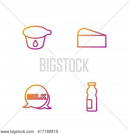 Set Line Drinking Yogurt In Bottle, Lettering Milk, Yogurt Container And Cheese. Gradient Color Icon