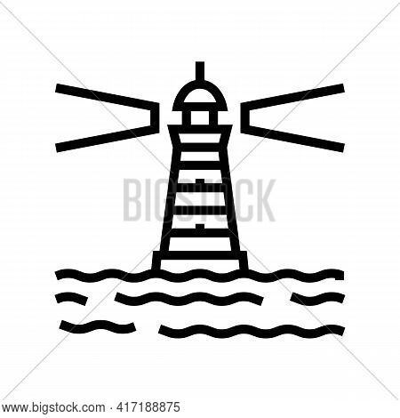 Lighthouse Port Line Icon Vector. Lighthouse Port Sign. Isolated Contour Symbol Black Illustration
