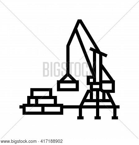 Container Loader Port Equipment Line Icon Vector. Container Loader Port Equipment Sign. Isolated Con