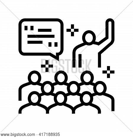 Member Forum Answering On Question Line Icon Vector. Member Forum Answering On Question Sign. Isolat