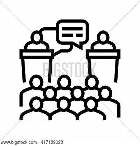 Debate On Forum Line Icon Vector. Debate On Forum Sign. Isolated Contour Symbol Black Illustration