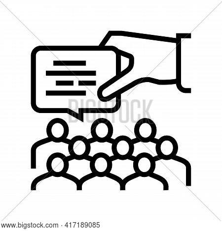 Speech On Forum Line Icon Vector. Speech On Forum Sign. Isolated Contour Symbol Black Illustration