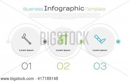 Set Line Walking Stick Cane, Iv Bag And Prosthesis Leg. Business Infographic Template. Vector