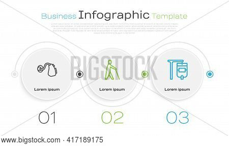 Set Line Hearing Aid, Blind Human Holding Stick And Iv Bag. Business Infographic Template. Vector