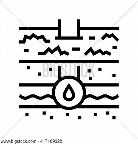 Water Communication Land Line Icon Vector. Water Communication Land Sign. Isolated Contour Symbol Bl