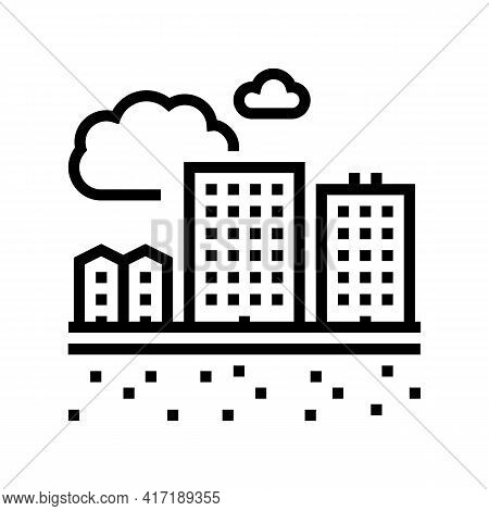 Residential Apartment Zone Land Line Icon Vector. Residential Apartment Zone Land Sign. Isolated Con
