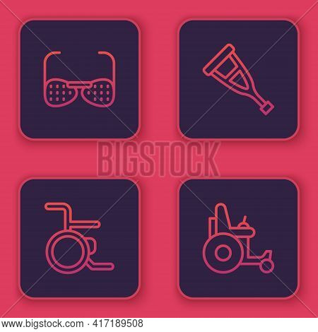 Set Line Blind Glasses, Wheelchair, Crutch Or Crutches And Electric Wheelchair. Blue Square Button.