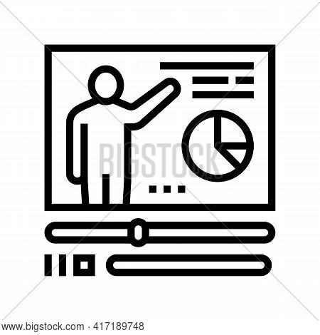Video Education Lesson Line Icon Vector. Video Education Lesson Sign. Isolated Contour Symbol Black