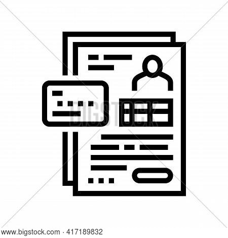 Agreement Bank Card Line Icon Vector. Agreement Bank Card Sign. Isolated Contour Symbol Black Illust