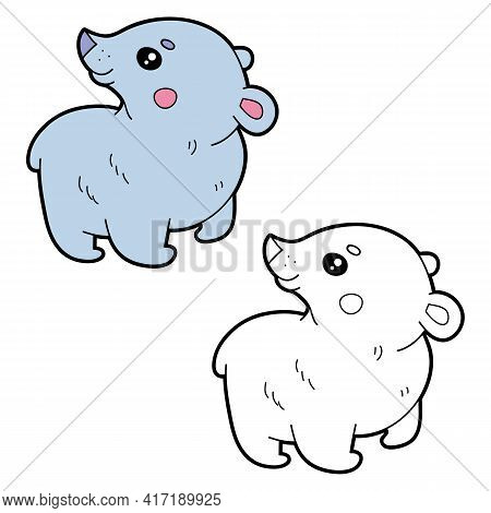 Vector Illustration Coloring Page With Cartoon Polar Bear For Children, Coloring And Scrap Book, Pri