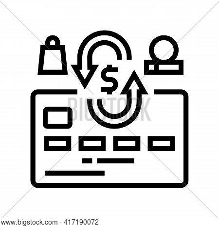 Cash Back Card Line Icon Vector. Cash Back Card Sign. Isolated Contour Symbol Black Illustration