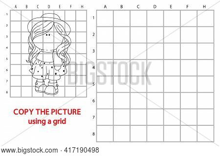 Vector Illustration Of Grid Copy Educational Puzzle Game With Happy Cartoon Character For Children