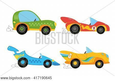 Vector Modern Cartoon Racing Cars Set. Yellow, Green, Red, Blue. Auto Kids Funny And Cute Logo. Boy