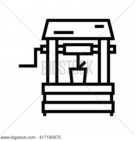 Well Water Line Icon Vector. Well Water Sign. Isolated Contour Symbol Black Illustration