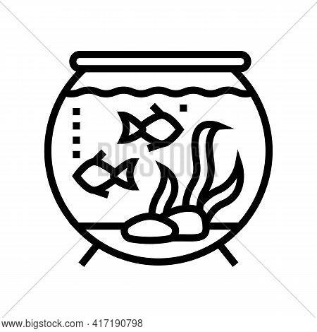 Aquarium Water Line Icon Vector. Aquarium Water Sign. Isolated Contour Symbol Black Illustration