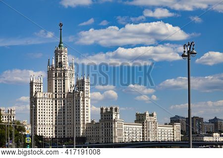 Stalin Skyscraper On The Embankment Of The Moscow River.