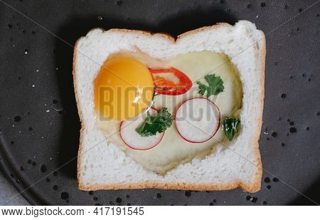Tasty And Delicious Bread And Egg Uncooked Fresh And Healthy Food Lunch Dinner Breakfast Mix Vegetab