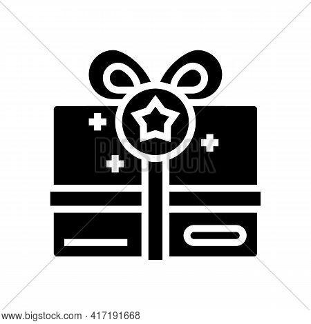 Present Box Bonus Glyph Icon Vector. Present Box Bonus Sign. Isolated Contour Symbol Black Illustrat
