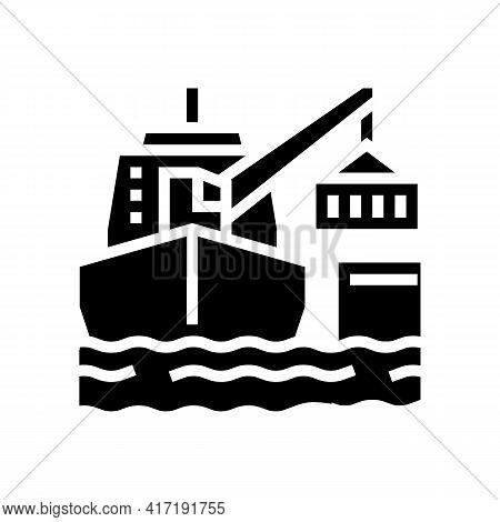 Ship Crane Glyph Icon Vector. Ship Crane Sign. Isolated Contour Symbol Black Illustration