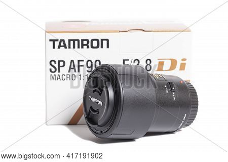 Moscow, Russia April 16, 2021 Tamron Sp Af 90mm F 2.8 Camera Photo Lens With Box