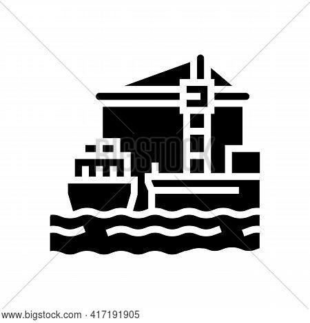 Container Stack Port Glyph Icon Vector. Container Stack Port Sign. Isolated Contour Symbol Black Ill