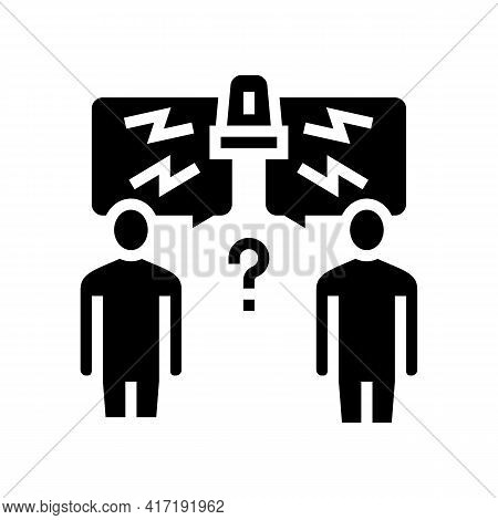 Conflict On Forum Glyph Icon Vector. Conflict On Forum Sign. Isolated Contour Symbol Black Illustrat