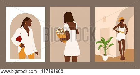 Set Of Abstract Summer Women Portraits. Collection Of Trendy Faceless Black Female Posters. Modern V