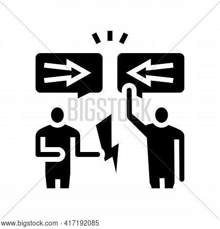 Disputes On Forum Glyph Icon Vector. Disputes On Forum Sign. Isolated Contour Symbol Black Illustrat