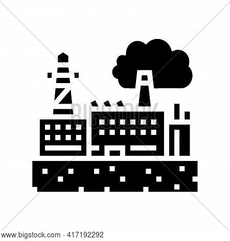 Industrial Zone Land Glyph Icon Vector. Industrial Zone Land Sign. Isolated Contour Symbol Black Ill