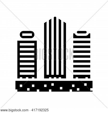 Public And Business Zone Land Glyph Icon Vector. Public And Business Zone Land Sign. Isolated Contou