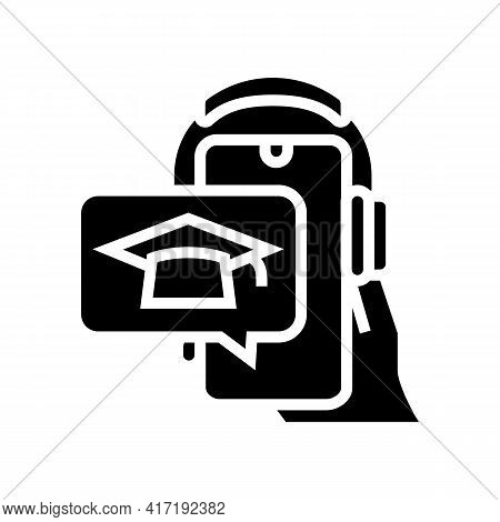 Listen Lesson Phone App Glyph Icon Vector. Listen Lesson Phone App Sign. Isolated Contour Symbol Bla