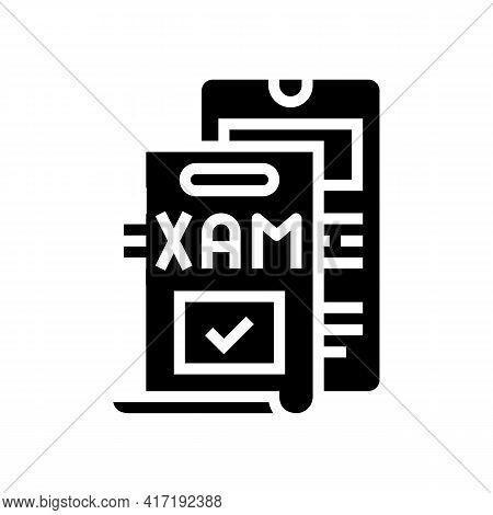 Online Examination Glyph Icon Vector. Online Examination Sign. Isolated Contour Symbol Black Illustr