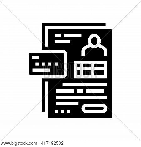 Agreement Bank Card Glyph Icon Vector. Agreement Bank Card Sign. Isolated Contour Symbol Black Illus