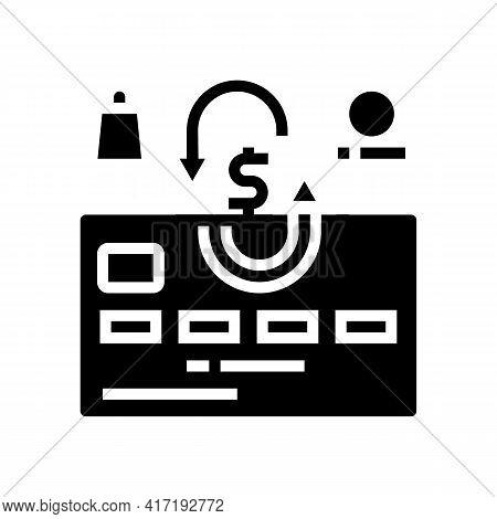 Cash Back Card Glyph Icon Vector. Cash Back Card Sign. Isolated Contour Symbol Black Illustration