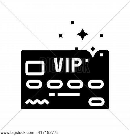 Vip Premium Line Card Glyph Icon Vector. Vip Premium Line Card Sign. Isolated Contour Symbol Black I