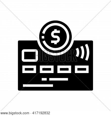 Debit Electronic Money Card Glyph Icon Vector. Debit Electronic Money Card Sign. Isolated Contour Sy