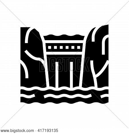 Dam Water Glyph Icon Vector. Dam Water Sign. Isolated Contour Symbol Black Illustration