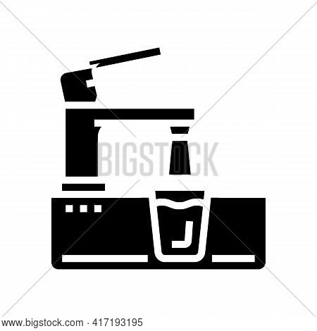 Faucet In Modern Design Water Glyph Icon Vector. Faucet In Modern Design Water Sign. Isolated Contou