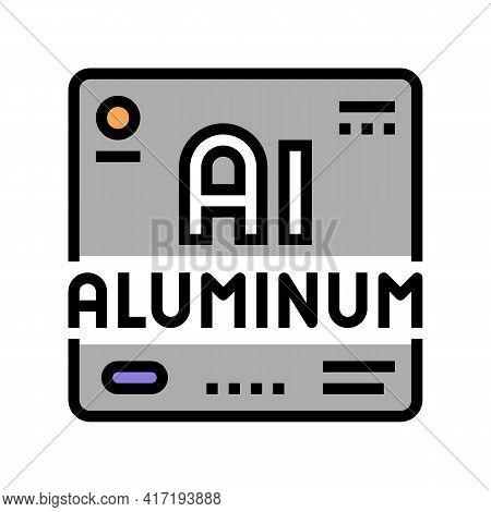 Aluminium Chemical Material Color Icon Vector. Aluminium Chemical Material Sign. Isolated Symbol Ill