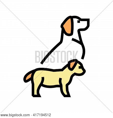 Puppy And Dog Color Icon Vector. Puppy And Dog Sign. Isolated Symbol Illustration