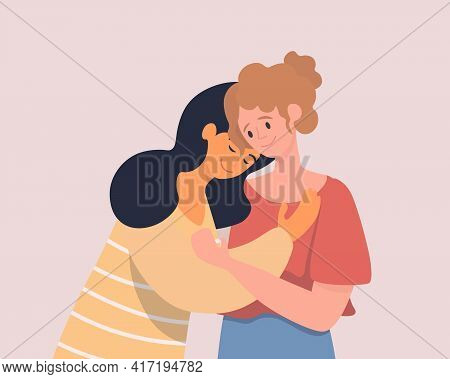 Two Hugging Women Vector Flat Illustration. Happy Young Female Characters Holding Each Other In Arms