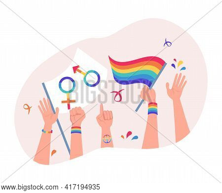 Human Hands Holding Rainbow Lgbt Flag, Male And Female Symbols. Lesbian, Gay, Bisexual, Transgender,