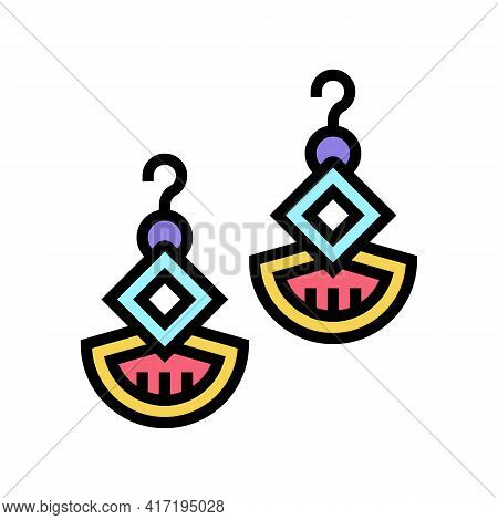 Earrings Jewellery Color Icon Vector. Earrings Jewellery Sign. Isolated Symbol Illustration