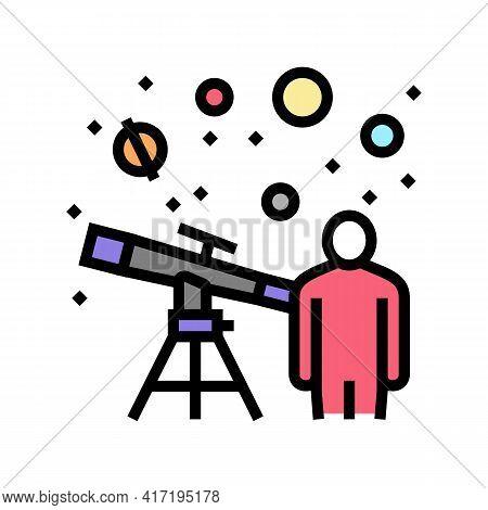 Astronomer Watching In Telescope On Stars Color Icon Vector. Astronomer Watching In Telescope On Sta