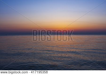 Sunrise On The Beach With A View Of The Sea And The Sun In Tunisia. And The Sun In Tunisia.