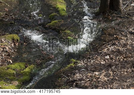 The Stream Of A Brook Or A Creek In Nature
